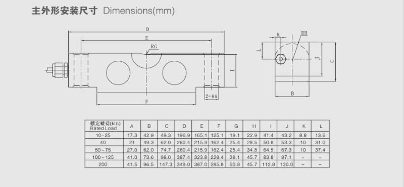 QSB桥式称重传感器尺寸图