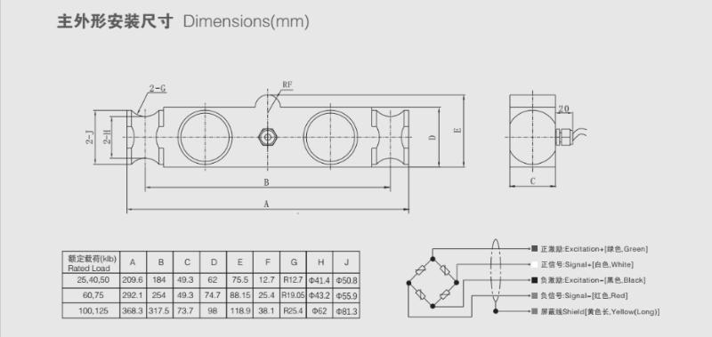 QSC桥式称重传感器安装尺寸图