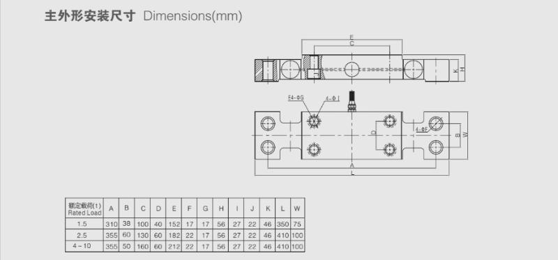 QSJ桥式称重传感器安装尺寸图