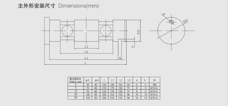 ZXA轴销称重传感器安装尺寸图
