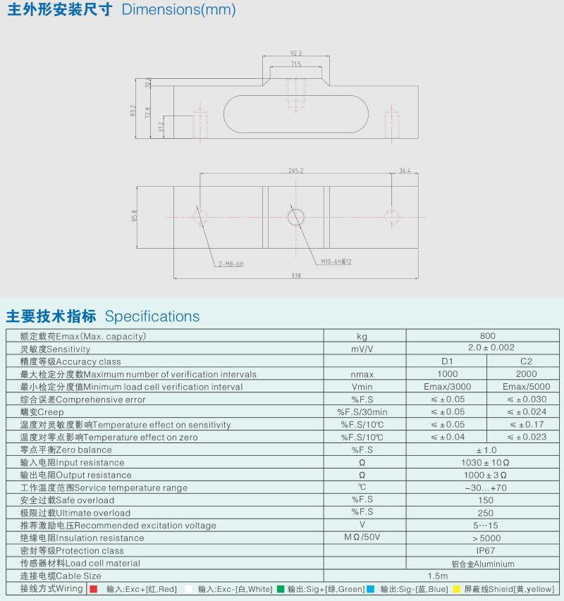 CXD称重传感器安装尺寸图