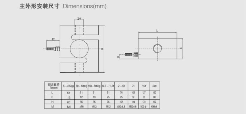 TSA称重传感器的安装尺寸图