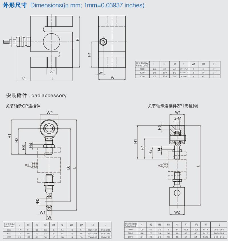 TSB称重传感器安装尺寸图