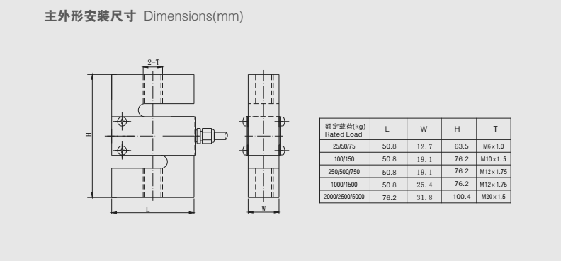 STC称重传感器安装尺寸图