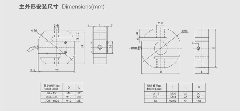 TSF称重传感器安装尺寸图