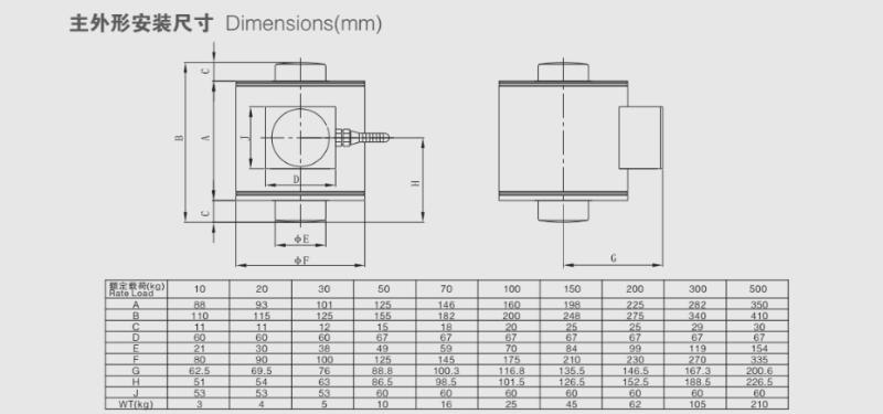 ZSC称重传感器安装尺寸图