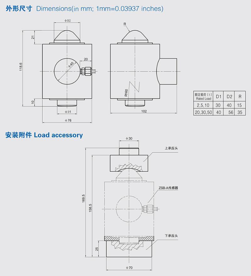 ZSB2称重传感器安装尺寸图